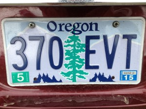 Rental car's license plate.